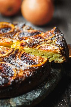 Show-stopping Orange Ricotta Cake, made just a bit lighter with part-skim ricotta and olive oil. Get the all-star, simple recipe from The Mediterranean Dish Mediterranean Desserts, Cake Recipes, Dessert Recipes, Dessert Ideas, Drink Recipes, Rich Cake, Ricotta Cake, Moist Cakes, No Bake Desserts