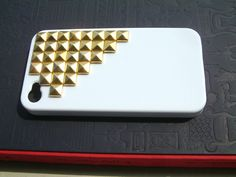 white Iphone 4 Case with  gold   rivet   , iphone 4 cover, iphone 4 & iphone 4S   DIY,- Apple iPhone 4