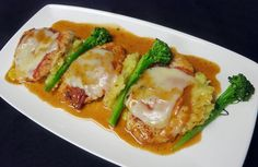 Petto di Pollo alla Piemontese: Chicken breast scaloppine topped with Italian ham & truffle cheese; served with broccolini & mashed potatoes - you can't go wrong with this flavorful dish on the Festa Regionale menu. Join us for dinner tonight for your last chance to savor Piemonte!