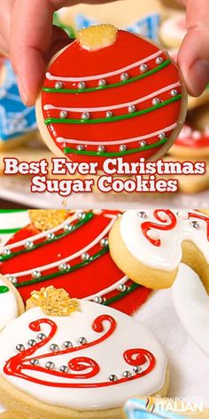 Christmas sugar cookies (also known as cut out cookies) are a family tradition. This simple recipe for the perfect dough stays put (doesn't spread) and tastes amazing! A sweet cookie that is slightly Chewy Sugar Cookies, Best Sugar Cookies, Christmas Sugar Cookies, Sweet Cookies, Christmas Snacks, Christmas Cooking, Sugar Cookies Recipe, Holiday Cookies, Christmas Recipes