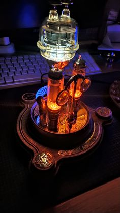 Steampunk desk lamp Galileo is straight out of the fantastic steam era. Ideal combination of brass wood and glass. Every detail is hand made and soldered. The lamp contains very bright, replaceable LEDs Steampunk Desk, Steampunk Interior, Power Wire, Brass Wood, Lamp Design, Desk Lamp, Lanterns, Lamps, Bright