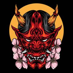Demon oni mask with sakura vector Premiu. Japanese Demon Tattoo, Japanese Demon Mask, Japanese Sleeve Tattoos, Hanya Mask Tattoo, Hannya Tattoo, Oni Demon, Demon Art, Mascara Samurai Tattoo, Oni Art