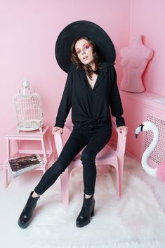 Stylish photoshoot, black clothes and hat, pink background, Pink flamingo, makeup by me