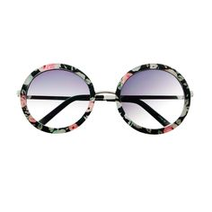 #retro #indie #fashion #cute #flower #floral #print #large #round #sunglasses #hippie #silver #metal #circle