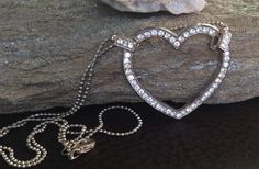 Large Rhinestone Heart Necklace, Heart Necklace by PassingTides on Etsy