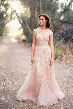 Blush lace cap sleeved gown. Re-pin if you like. Via Inweddingdress.com #weddingdresses