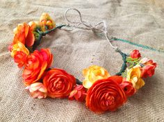 Red and Orange Ranunculus Rose Flower Crown  by BuffaloDaisies, $45.00