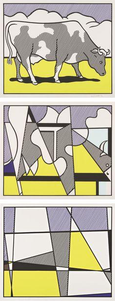Bid now on Cow Triptych: Cow Going Abstract (set of by Roy Lichtenstein. View a wide Variety of artworks by Roy Lichtenstein, now available for sale on artnet Auctions. Roy Lichtenstein Pop Art, Industrial Paintings, Pop Art Movement, Comic Book Style, Cow Art, Arte Popular, Art Moderne, Art Design, Jasper Johns