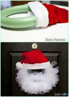 DIY Santa Tulle Wreath Instructions- #Christmas #Wreath Craft Ideas Holiday Decoration