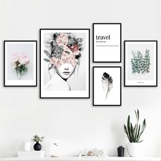Flower Leaf Feather Girl Peony Wall Art Canvas Painting Quotes Nordic Posters And Prints Wall Pictures For Living Room Decor – Linh's Corner Canvas Painting Quotes, Canvas Wall Art, Framed Wall Art, Canvas Prints, Canvas Quotes, Diy Canvas, Wall Art Prints, Gallery Wall Layout, Travel Gallery Wall