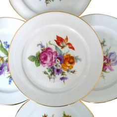 Bavaria Germany Set of 5 Plates Various Floral Bouquets Trimmed In Gold 7 1/2'