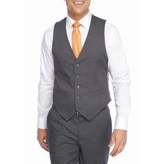 Kenneth Cole Reaction Grey Techni-Cole Stretch Slim-Fit Vest ($35) ❤ liked on Polyvore featuring men's fashion, men's clothing, men's outerwear, men's vests, grey, mens slim fit vest, mens slim vest, mens vest, mens vest outerwear and mens gray vest