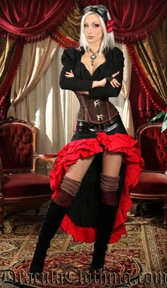 ML Black and Red Vex Skirt Steampunk Couture
