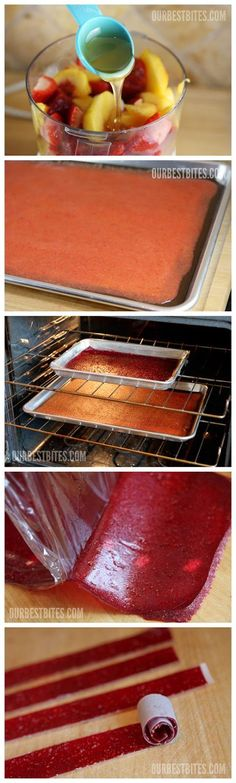 Homemade Fruit Roll-Ups - perfect for back to school and no preservatives! My mom used to make these for us growing up all the time! The best! thicker and healthier!