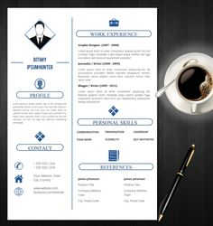 simple resume template with photo cover letter cv template us letter a4 professional resume creative resume instant download cv - Professional Resumes