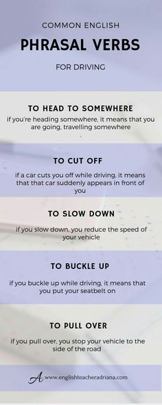 Common Phrasal Verbs for driving you need to know. Click the link below to watch the full video lesson English Tips, English Fun, English Writing, English Study, English Lessons, British English, English Vocabulary Words, Learn English Words, English Phrases