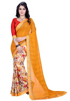 #Orange And #Off #White #Marble #Georgette #Saree With #Blouse.  Orange And Off White Marble Georgette Saree designed with Printed Work.  INR:1,068.00  With Exclusive Discounts  Grab:http://tinyurl.com/hsxba2f