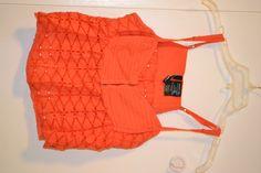Pacsun bright orange lace bottom tank