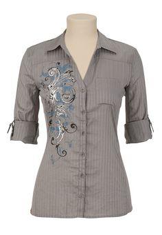 Screen Print Button Up Shirt