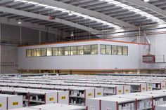After moving to new premises, our client contracted mezzaninefloor.ie to design, supply and install a 150 sq. metre mezzanine floor with finished floor level. The finished floor level was designed to match the existing office Mezzanine Floor, Steel Structure, Floors, Ireland, Commercial, Design, Irish, Design Comics, Floor