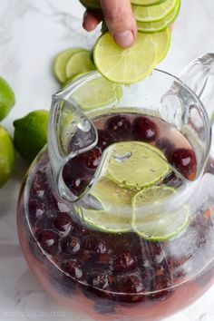 Cherry Limeade Sangria With Pinot Grigio, Cherry Vodka, Frozen Limeade Concentrate, Frozen Cherries, Limes Cherry Vodka, Cherry Liqueur, Cherry Brandy, Mojito Recipe, Sangria Recipes, Wine Recipes, Sangria Wine, Wine Drinks, Pool Drinks