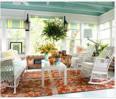 Sunroom Decorating and Design Ideas. Get inspired with clever layout and pretty fabrics, furniture, and accents to transform your sunroom into the most-used room in your house. Tags: sunroom design ideas, sunroom furniture, floor to ceiling windows Sunroom Furniture, Outside Furniture, Wicker Furniture, Furniture Ideas, White Furniture, Furniture Design, Rattan Sofa, Furniture Layout, Modern Furniture