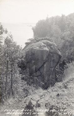 Marquette MI UP Presque Isle Pulpit Rock RPPC LL Cook Card A-2091 Longfellow's Indian hero Hiawatha leaped to the rescue of his Indian sweetheart from this very cliff  via UpNorth Memories by Donald (Don) Harrison