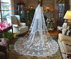 Cathedral Veil Lace Cathedral Veil Ivory by StoneyCreekBoutiques