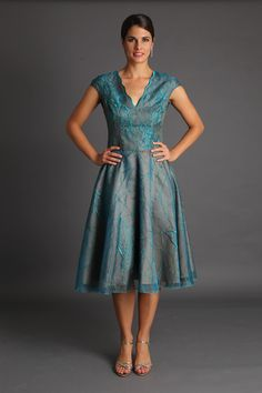Turquoise Chrysalide Tea Length Dress www.livingsilk.com.au