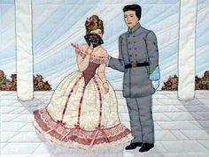 "#1 ""Civil War Series""  Courtship Pattern $13.50.   Maribelle hides behind her fan and says a last good bye to Hamilton. Shadow applique from the Ladies Day Out book is used for the sky and  column shadows. Quilting is used to outline the blocks in the porch."