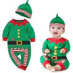 Baby suit Xmas long sleeve clothes set + hat