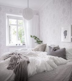White home with lots of greens - via Coco Lapine Design blog