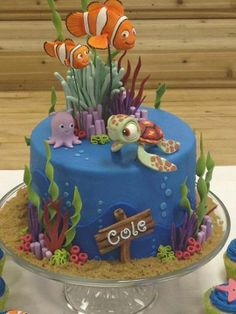 Finding Nemo cake.  I love the brown sugar sand at the bottom.