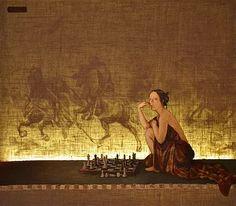 The Chess Game ~ Barbara Gerodimou ~light series ~ www.gerodimou.com Oil On Canvas, Artwork, Artist, Painting, Work Of Art, Auguste Rodin Artwork, Artists, Painting Art, Artworks