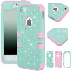 Amazon.com: Majesticase® iPhone 5/5S Case - 3 Layers Diamante Bling Crystals Full Body Hybrid Armor Protection Cover + FREE Stylus in Green/Pink: Majesticase®: Cell Phones & Accessories
