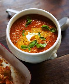 Tomato soup with créme fraîche and basil
