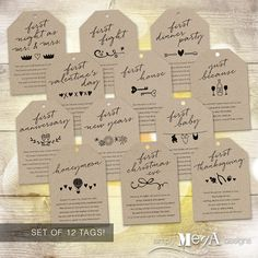 "Marriage Milestone Wine Basket Tags — Set of 12 — Bridal Shower Gift / Wedding — Firsts Poems — Illustrations — 3.5""x5"" — INSTANT DOWNLOAD"