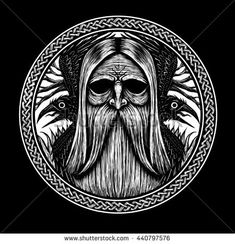 Norse God Odin with crows and old tree. Graphic illustration - buy this illustration on Shutterstock & find other images. Norse Runes, Viking Symbols, Egyptian Symbols, Viking Art, Viking Runes, Mayan Symbols, Ancient Symbols, Warrior Symbol Tattoo, Vikings