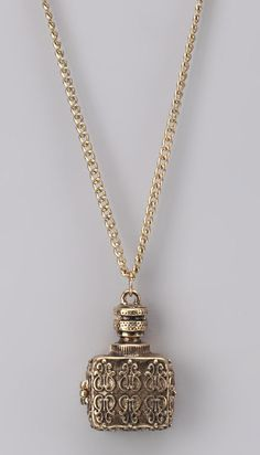 """Antique Gold Vintage Pendant Necklace - the squared shape and wonderful texture - just make sure its not too small, not """"substantial"""" enough once you have it on."""