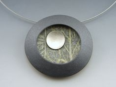 Polymer clay, sterling disc. By Stonehouse Studio