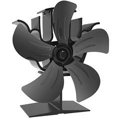 Durable 4 Blades Aluminum Black Heat Powered Stove Fan Fuel Saving Stove Fan MG