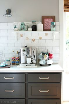 Create a festive Christmas coffee station in the kitchen (wood slice banner, mason jar scenes and O Holy Night art) #easyholidayideas