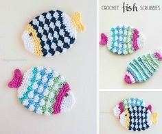 Crochet Fish Scrubbies Free Pattern These Crochet Scrubbies Patterns are washable and super quick and easy to whip up. We have included lots of fabulous free patterns. Crochet Fish, Hand Crochet, Crochet Flowers, Free Crochet, Crochet Kitchen, Crochet Home, Craft Stick Crafts, Yarn Crafts, Crochet Patterns For Beginners