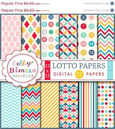 50% off Modern geometric digital scrapbook papers  by LillyBimble (Craft Supplies & Tools, Scrapbooking Supplies, Scrapbooking Paper, bingo numbers, arrows, quatrefoil, polka dots, stripes, Instant Download, commercial use, Geometric, digital paper, red, paper pack, paper, scrapbook)