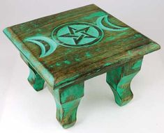 ☆ Antiqued Triple Moon Altar Table - This small Antiqued Altar Table features the Symbol of the Triple Moon in Representation of the Maiden, Mother, and Crone, and can readily fit in many Travel Bags -::- Shop Arcane Attic ☆