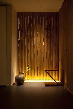 Kengo Kuma _ Park Court Kagurazak golden lighting