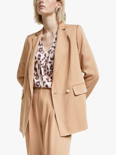 Buy Mother of Pearl Tencel™ Double Breasted Blazer, Camel, 8 from our Beauty range at John Lewis & Partners. Tapered Trousers, Slip Skirts, Double Breasted Blazer, Fashion Brands, Fashion Styles, Latest Fashion, Smart Casual, Cropped Jeans, Types Of Sleeves