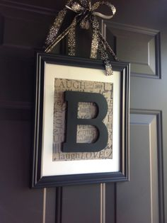 Super easy! 11x14 matted frame, 1 block letter, scrapbook paper and ribbon. Change out the scrapbook paper according to season! I have orange glitter paper for fall just waiting:) Letter is just glued to glass of frame. EASY!