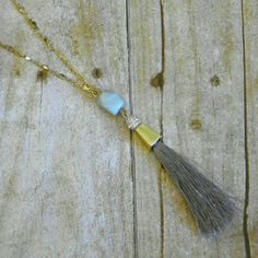 Long Amazonite tassel necklace Gray tassel accented by a pave sphere and genuine Amazinite stone suspended from a goldtone mixed media chain.  No trades. Jewelry Necklaces