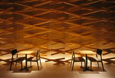 Kengo Kuma and Associates have given a Starbucks coffee shop in Fukuoka, Japan an imaginative re-design using wooden stick-like parts. Kengo Kuma, Japanese Architecture, Interior Architecture, Interior Design, Interior Detailing, Architecture Models, Contemporary Architecture, Café Starbucks, Starbucks Recipes